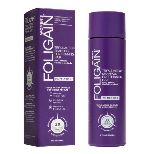 Foligain Women's Triple Action Shampoo for Thinning Hair (2% Trioxidil)