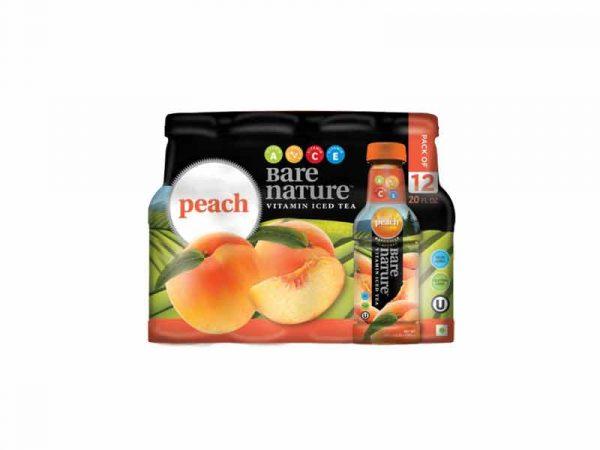 BARE NATURE Vitamin Iced Tea - Peach (Pack of 12, 20 FL OZ bottles)