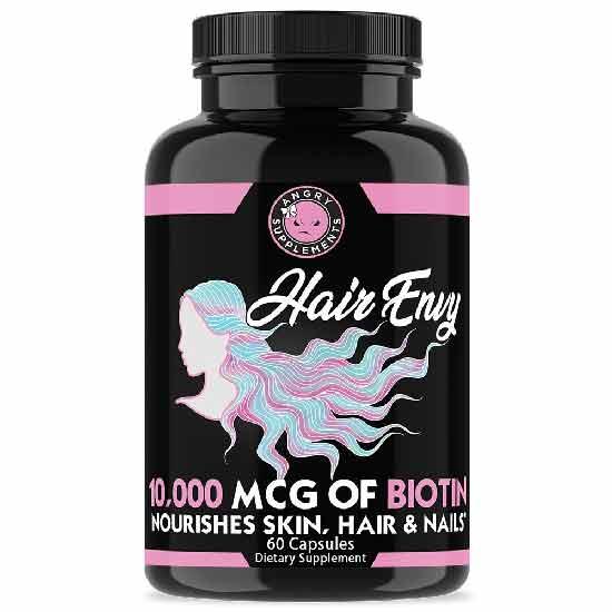 Angry Supplements Hair Envy, Biotin + Keratin, Nourish Hair, Skin & Nails