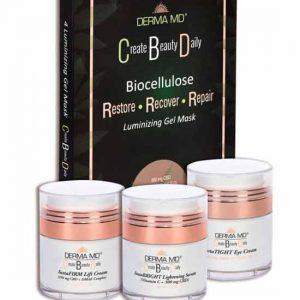 CBD 4 PIECE KIT~ instaTIGHT eye ~instaBRIGHT serum~instaFIRM cream~Luminizing Gel Masks (box of 4)