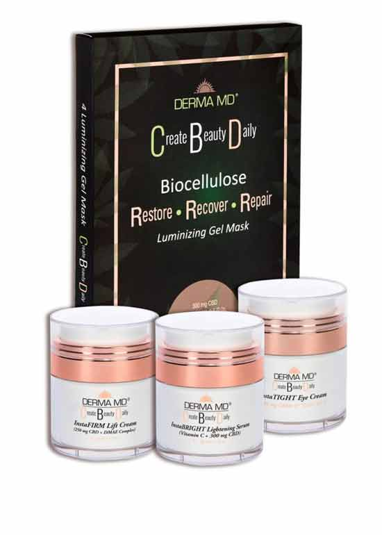 CBD 4 PIECE KIT~ instaTIGHT eye ~instaBRIGHT serum~instaFIRM cream~Luminizing Gel Masks (box of 4)