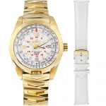 1 Abingdon Limited Edition Amelia Crowning Gold Analog Quartz GMT Watches for women