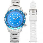 1 Abingdon Marina Bahama Blue Mother-of-Pearl Titanium Analog Automatic World Timer Dive Watches for women