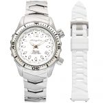 1 Abingdon Marina Belize Black Mother-of-Pearl Titanium Analog Automatic World Timer Dive Watches for women