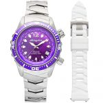 1 Abingdon Marina Pacific Purple Mother-of-Pearl Titanium Analog Automatic World Timer Dive Watches for women