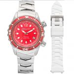 1 Abingdon Marina Reef Red Mother-of-Pearl Titanium Analog Automatic World Timer Dive Watches for women