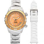 1 Abingdon Marina Yellow Snapper Mother-of-Pearl Titanium Analog Automatic World Timer Dive Watches for women