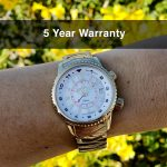 3 Abingdon Elise Egyptian Gold Plated 24K Mother-of-Pearl Steel Analog Quartz GMT Watches for women