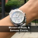 3 Katherine First Class Mother-of-Pearl Steel Analog Quartz Chronograph Pilot Watches for women