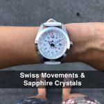 4 Abingdon Amelia Cloud White Leather Analog Quartz GMT Watches for women