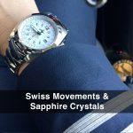 4 Abingdon Amelia Cloud White Steel Analog Quartz GMT Watches for women