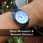 4 Abingdon Elise Sapphire Blue Steel Analog Quartz GMT Watches for women