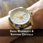 4 Abingdon Limited Edition Amelia Crowning Gold Analog Quartz GMT Watch Back