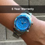 4 Abingdon Marina Bahama Blue Mother-of-Pearl Titanium Analog Automatic World Timer Dive Watches for women