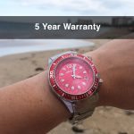 4 Abingdon Marina Reef Red Mother-of-Pearl Titanium Analog Automatic World Timer Dive Watches for women