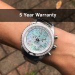 4 Jackie Seaplane Green Mother-of-Pearl Steel Analog Quartz Chronograph Pilot Watches for women