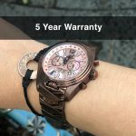 4 Katherine Chocolate Mother-of-Pearl Steel Analog Quartz Chronograph Pilot Watches for women