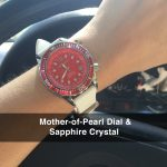 5 Abingdon Marina Reef Red Mother-of-Pearl Titanium Analog Automatic World Timer Dive Watches for women