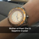 5 Abingdon Marina Yellow Snapper Mother-of-Pearl Titanium Analog Automatic World Timer Dive Watches for women