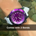 6 Abingdon Marina Pacific Purple Mother-of-Pearl Titanium Analog Automatic World Timer Dive Watches for women
